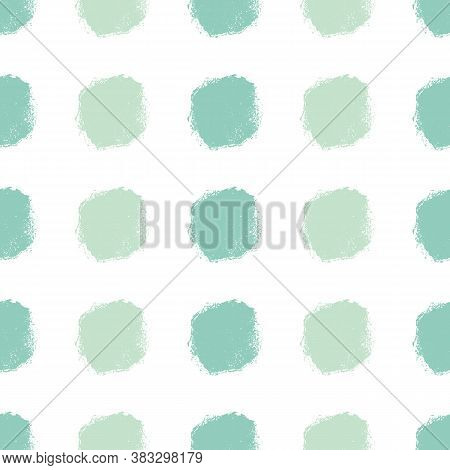 Mono Print Style Circles Seamless Vector Pattern Background. Textured Stamp Effect Rows Of Mint Gree