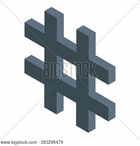 Digital Detox Hashtag Icon. Isometric Of Digital Detox Hashtag Vector Icon For Web Design Isolated O