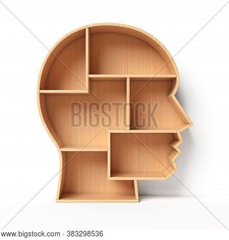 Bookshelves In The Shape Of Human Head, Education Book Shelf Concept 3d Rendering