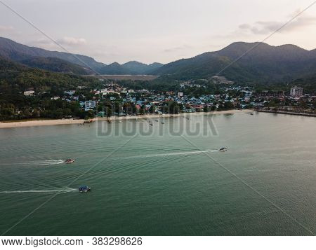 Drove View Fishing Boats Move At Teluk Bahang.