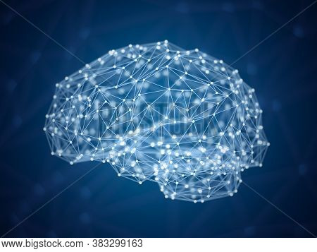 Abstract Digital Brain, Dots And Lines In Form Of Human Brain, Artificial Intelligence Concept, Tria