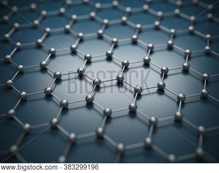 Graphene Molecular Grid, Graphene Atomic Structure Concept, Hexagonal Geometric Form, Nanotechnology