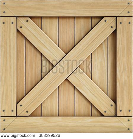 Wooden Crate Front View, Cargo Box Texture 3d Rendering