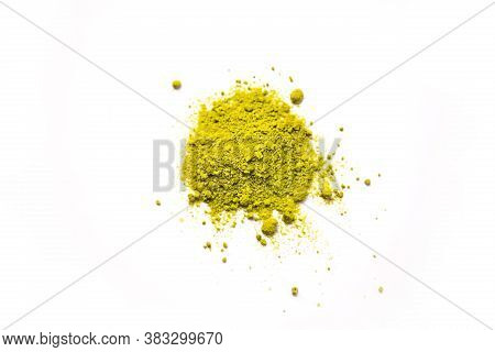 Green Powder Of Japanese Matcha Tea On A Platter, Isolated On A White Background. Loose Powder. Spac