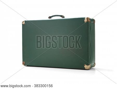 Old vintage suitcase on white background, including clipping path