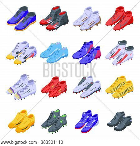 Football Boots Icons Set. Isometric Set Of Football Boots Vector Icons For Web Design Isolated On Wh