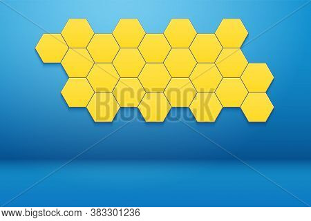 Interior Room With Honeycomb Hexagon Wall Decor. Blue Wall And Yellow Hexagon Ornament. Vector Illus