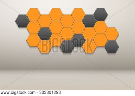 Interior Room With Honeycomb Hexagon Wall Decor. White Wall And Orange Hexagon Ornament. Vector Illu