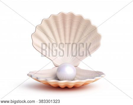Pearl Inside Seashell 3d Rendering, Three Dimensional Object
