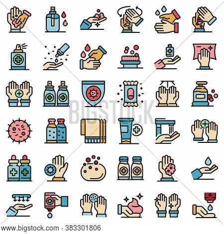 Antiseptic Icons Set. Outline Set Of Antiseptic Vector Icons Thin Line Color Flat On White