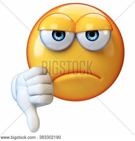 Thumb Down Emoji Isolated On White Background, Emoticon Giving Dislikes 3d Rendering