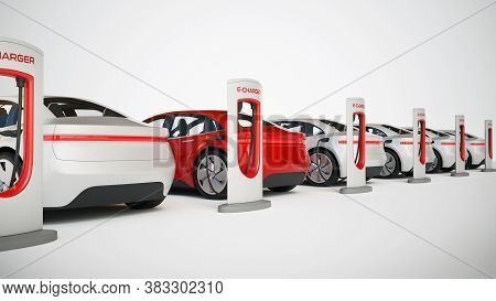 Electric Cars Charging Station, Electric Transportation Concept 3d Rendering