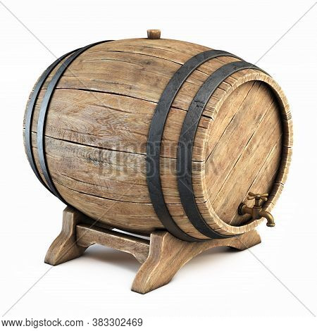 Wooden Barrel Isolated On White Background, Wine, Beer, Alcohol Drink Storage 3d Illustration