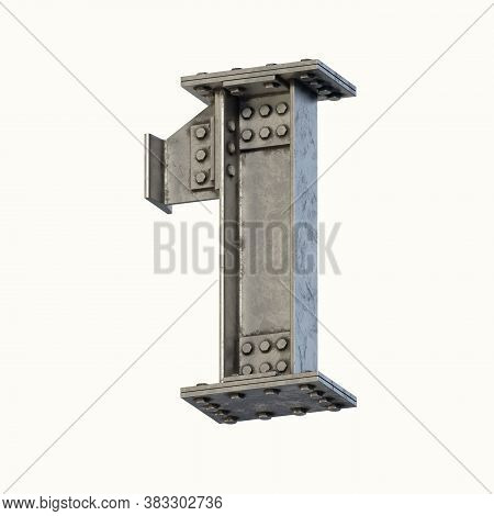 Steel Beam Font 3d Rendering Number 1, Three Dimensional Object