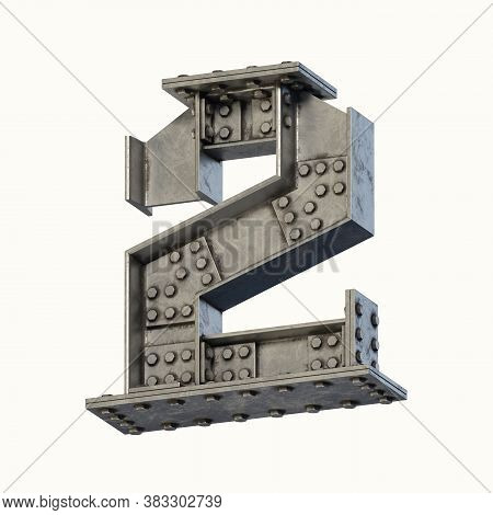 Steel Beam Font 3d Rendering Number 2, Three Dimensional Object