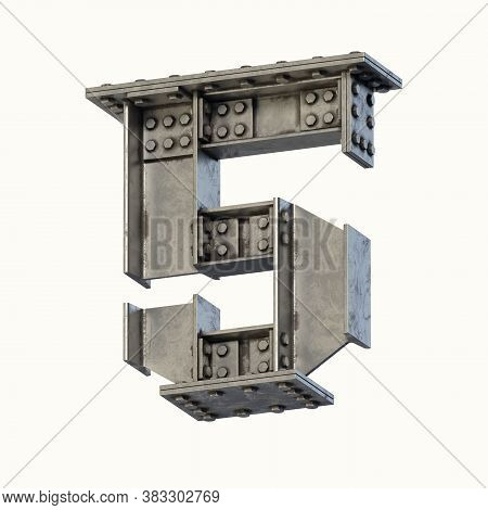 Steel Beam Font 3d Rendering Number 5, Three Dimensional Object