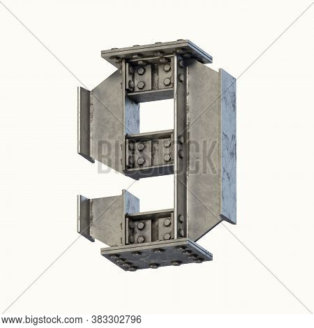 Steel Beam Font 3d Rendering Number 9, Three Dimensional Object