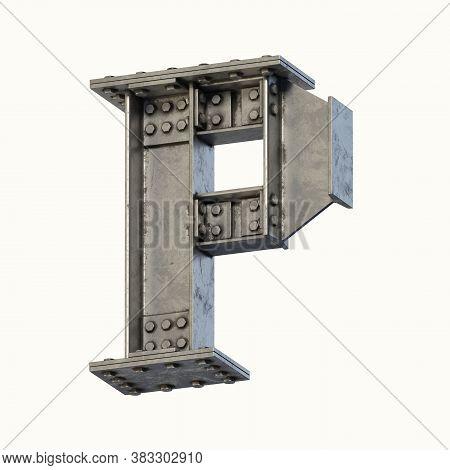 Steel Beam Font 3d Rendering Letter P