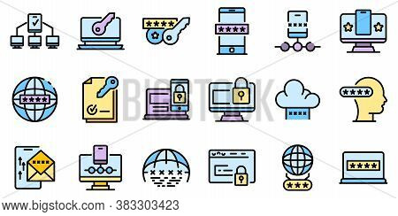 Multi-factor Authentication Icons Set. Outline Set Of Multi-factor Authentication Vector Icons Thin