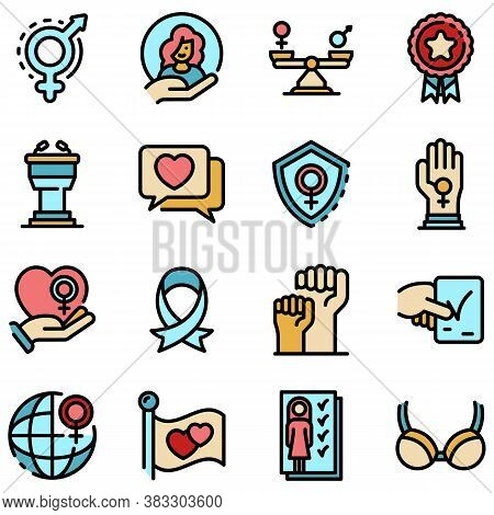 Empowerment Icons Set. Outline Set Of Empowerment Vector Icons Thin Line Color Flat On White
