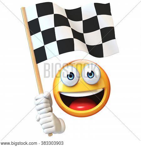 Emoji Holding Finish Flag, Emoticon Waving Black And White Checker Flag 3d Rendering
