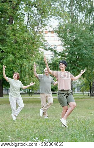 Energetic healthy senior couple with finger circles practicing qigong with instructor in park