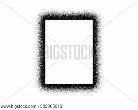 Dotwork Frame Pattern Vector Background. Sand Grain Effect. Black Noise Stipple Dots. Abstract Noise