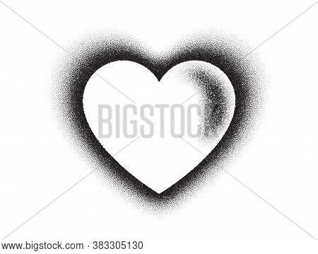 Dotwork Heart Pattern Vector Background. Sand Grain Effect. Black Noise Stipple Dots. Heart Dots Gru