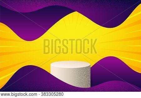 Podium Dotwork Vector Background. Minimal Abstract Render Scene. Geometric Cylinder Shape. Render 3d