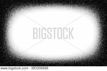 Dotwork Frame Pattern Vector Background. Sand Grain Effect. Black Noise Stipple Dots. Abstract Noise