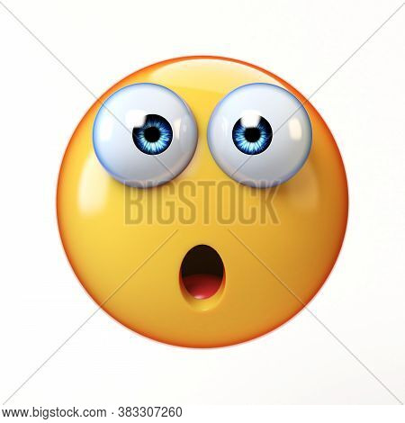 Surprised Emoji Isolated On White Background, Shocked Emoticon 3d Rendering
