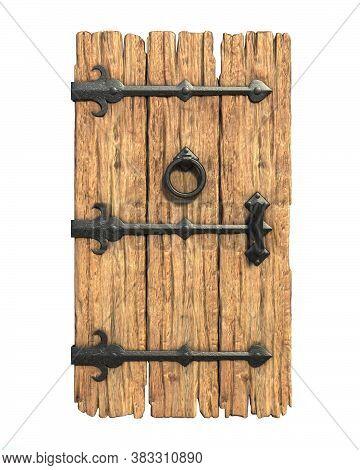 Old Medieval Wooden Door 3d Rendering, Three Dimensional Object