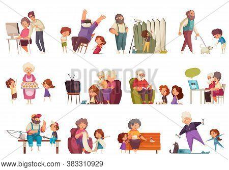 Grandma And Grandpa Set With Pastime Symbols Flat Isolated Vector Illustration