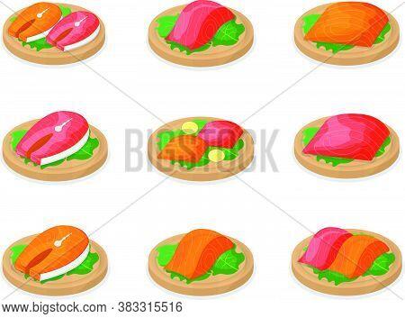 Set Of Piece Fish Tuna Salmon, Fresh Steak Tenderloin On Wooden Board Isolated On White, Cartoon Vec