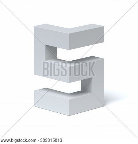 Isometric Font 3d Rendering Letter S, Three Dimensional Object