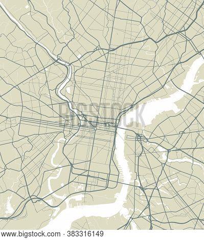 Vector Map Of Philadelphia. Street Map Poster Illustration. Philadelphia Map Art.