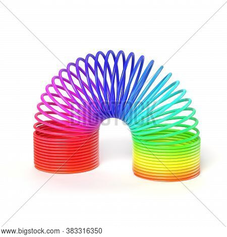 Spring Toy, Plastic Colorful Spring, 3d Rendering