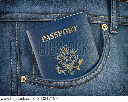 USA passport in pocket jeans. Travel, tourism, emigration and passport control concept. 3d illustration