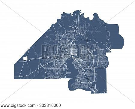 Jacksonville Map. Detailed Vector Map Of Jacksonville City Administrative Area. Dark Poster With Str