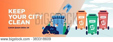 Garbage Recycling Horizontal Banner With Editable Text And Waste Bins With Reuse Symbols And Rubbish