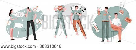 Men Problem Compositions Set With Flat Female And Male Human Characters With Stinky Shoes And Snorin