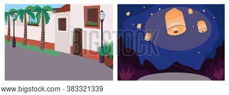 Recreational Event Flat Color Vector Illustration Set. Mexican Street. American Sidewalk. Light Lant