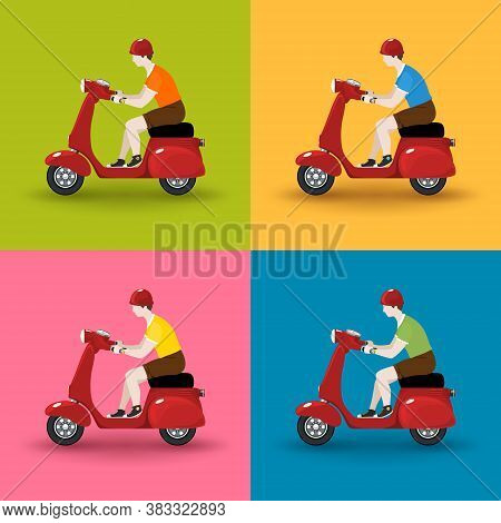 Young Guy Rides A Scooter, Set Of Red Vintage Scooters With Men Isolated On Colorful Background, Vec