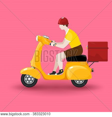 Young Guy Rides A Scooter, Orange Vintage Scooter With Box For Food Delivery Isolated On Pink Backgr