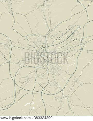 Luxembourg City Map Poster. Map Of Luxembourg Street Map Poster. Luxembourg Map Vector Illustration.