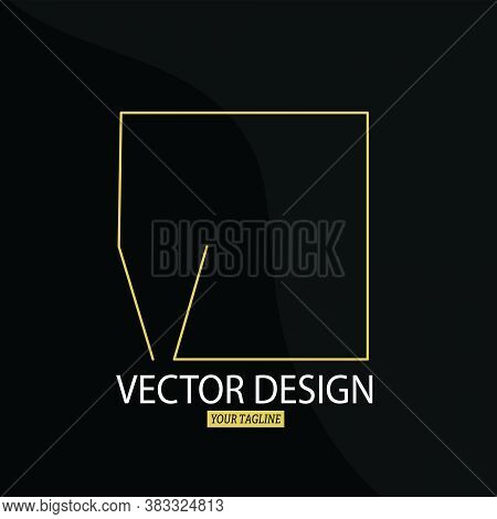 Stylized Letter K With A Square Frame. Vector Template For Logo, Label Or Sticker.