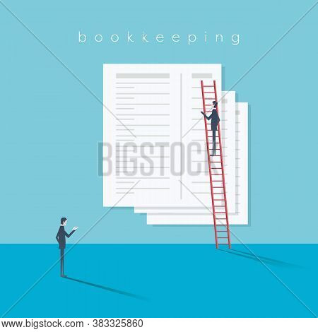 Accounting Website Vector Illustration With Financial Reports, Bookkeeping, Statements.