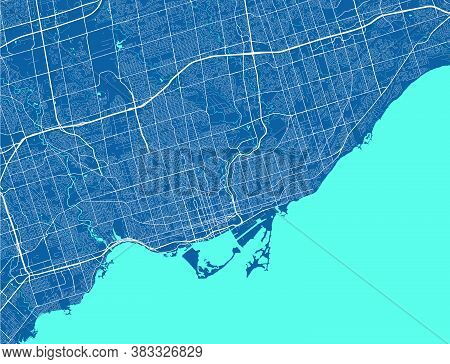 Toronto Map. Detailed Map Of Toronto City Administrative Area. Airview Cityscape Panorama. Royalty F