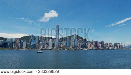 Victoria Harbor, Hong Kong 30 July 2020: Hong Kong city