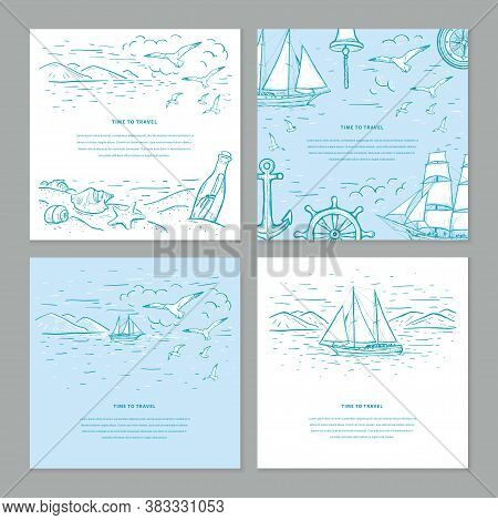Time To Travel Sketch Vector Set Templates In Blue And White Colors. Marine Sketch With Vector Sailb